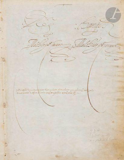 Douze feuillets de Cartas ejecutorias (lettres de noblesse) de Juan de Villaquirán...