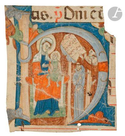 Initiale « H » historiée. Vierge à l'enfant et moines choristes Fragment d'un antiphonaire...