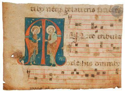 Initiale « M » historiée. Deux saints en pied (Saints Jean et Paul) Fragment d'un...