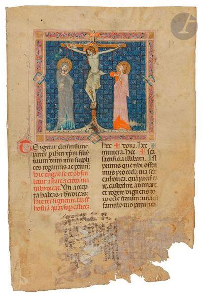 Miniature. Crucifixion. Feuillet extrait d'un missel Tempera, gouache, et or liquide...