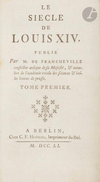 VOLTAIRE. Le Siècle de Louis XIV. Publié...