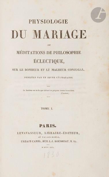 BALZAC (Honoré de). Physiologie du mariage...