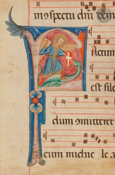 Initiale « F » historiée. Saint Georges tuant...