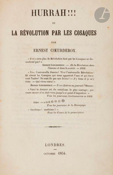 CŒURDEROY (Ernest). Hurrah!!! ou la révolution...