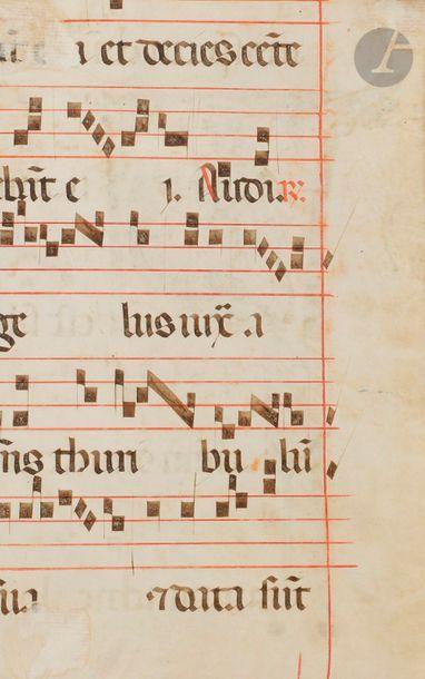Initiale « F » historiée. Saint Georges tuant le dragon Fragment de feuillet extrait...