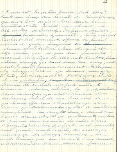 Simone de BEAUVOIR. Deux manuscrits autographes,...