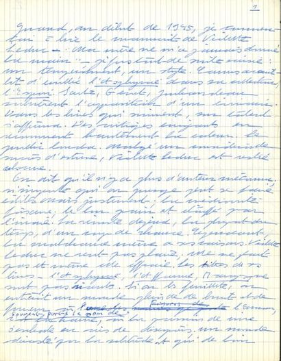 Simone de BEAUVOIR. Manuscrit autographe...