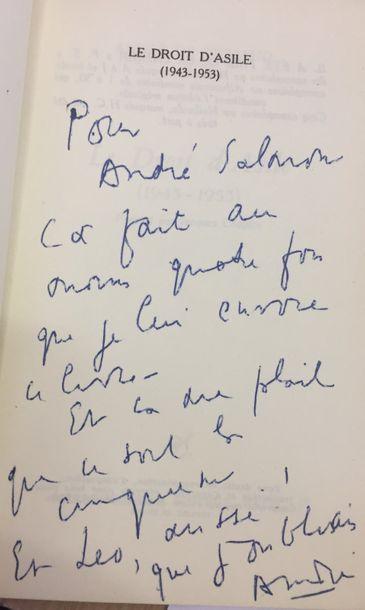 André de RICHAUD. Le Droit d'asile (1943-1953)....