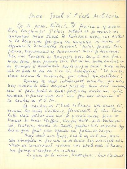 André de RICHAUD. Manuscrit autographe signé,...