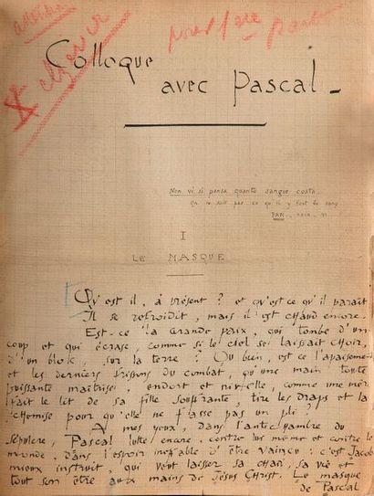 André SUARèS (1868-1948). Manuscrit autographe...