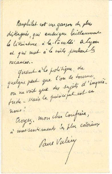Paul VALÉRY. L.A.S., jeudi [27 octobre 1927],...