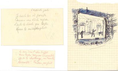 Paul VALÉRY. Dessin original, et 2 poèmes...