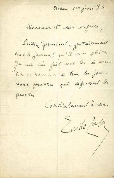 Émile ZOLA (1840-1902). L.A.S., 1er juin...
