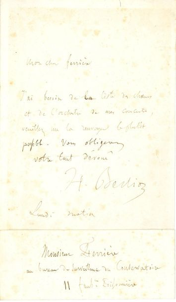 Hector BERLIOZ (1803-1869). L.A.S., Lundi...