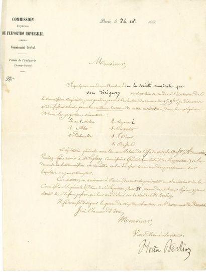 Hector BERLIOZ. L.S. avec 6 mots autographes,...