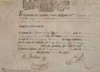 Nicolas BOILEAU-DESPRÉAUX (1636-1711). P.S....