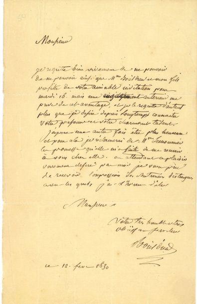 François-Adrien BOIELDIEU. L.A.S., 12 février...