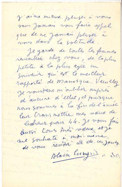 Alain CUNY (1908-1994). 2 L.A.S., 29 et 31...