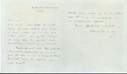 Claude DEBUSSY. L.A.S., Lundi [1908], à un...