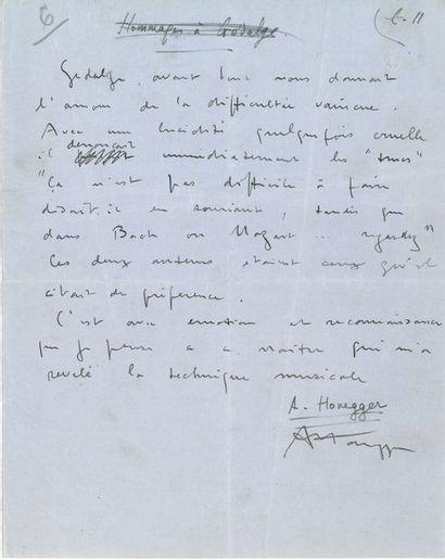 Arthur HONEGGER (1892-1955). Manuscrit autographe...