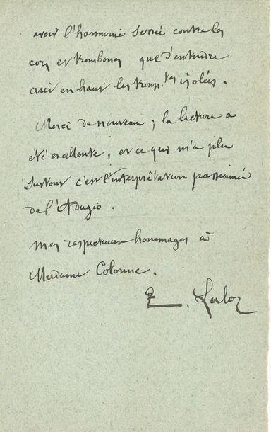 Édouard LALO (1823-1892). L.A.S., mercredi,...