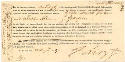 Franz LISZT. P.S., Hamburg 28 septembre 1849;...