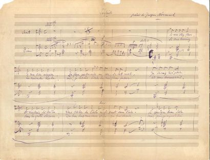 Jules MASSENET (1842-1912). Manuscrit musical...