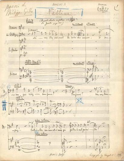 Jules MASSENET. Manuscrit musical autographe...