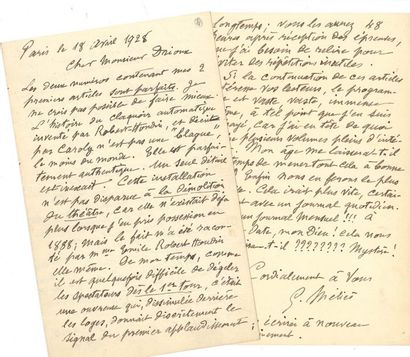 Georges MÉLIèS. L.A.S., Paris 18 avril 1928,...