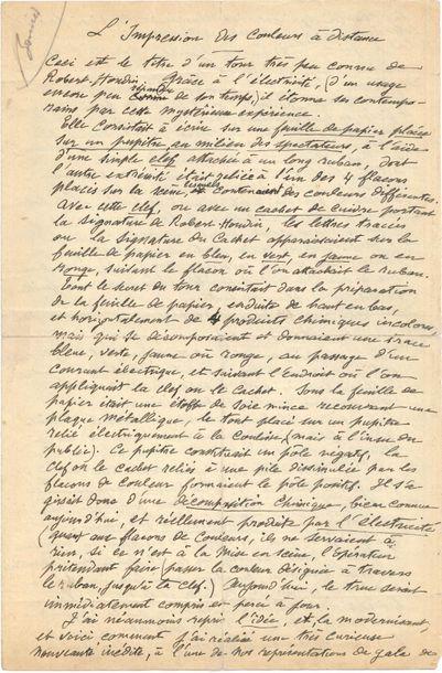 Georges MÉLIèS. Manuscrit autographe, L'Impression...