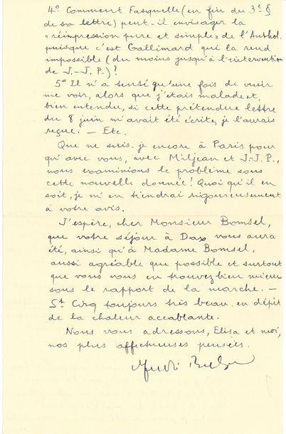 André BRETON (1896-1966). L.A.S., Saint-Cirq...
