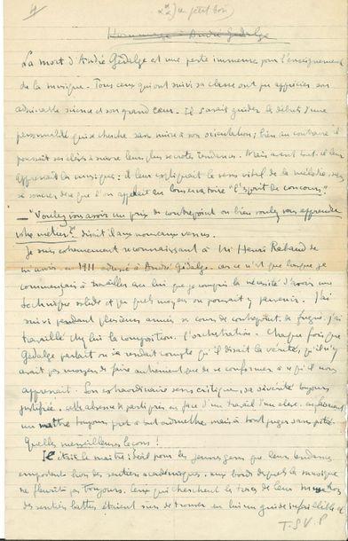 Darius MILHAUD (1892-1974). Manuscrit autographe...