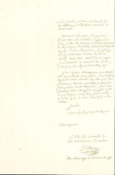 PANTOMIMES. L.A.S. de Bitthemer, Paris [1805],...