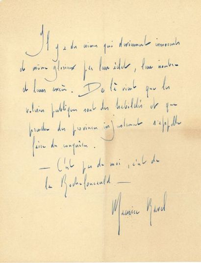 Maurice RAVEL. P.A.S.; 1 page in-4 «Il...