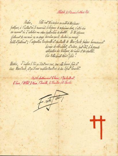 Erik SATIE (1866-1925). L.A.S., «Abbatiale,...
