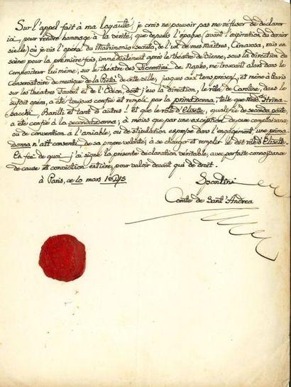 Gaspare SPONTINI (1774-1851). P.A.S. «Spontini...