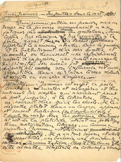 Jacques CHARDONNE (1884-1968). Manuscrit...
