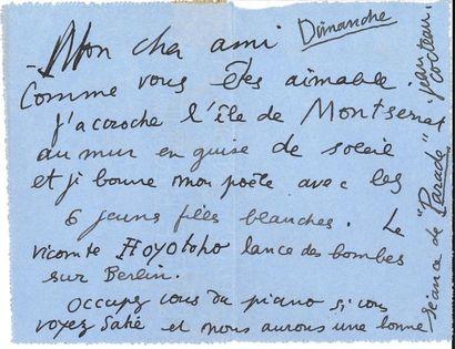 Jean COCTEAU (1889-1963). 2 L.A.S., Paris...