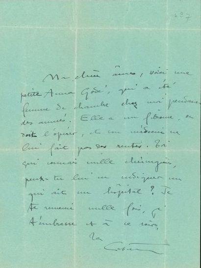 COLETTE (1873-1954). 2 L.A.S.; 1 page oblong...