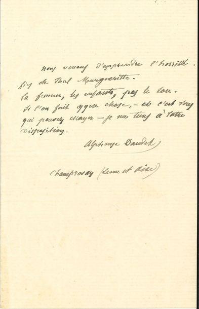 Alphonse DAUDET (1840-1897). L.A.S., Champrosay,...