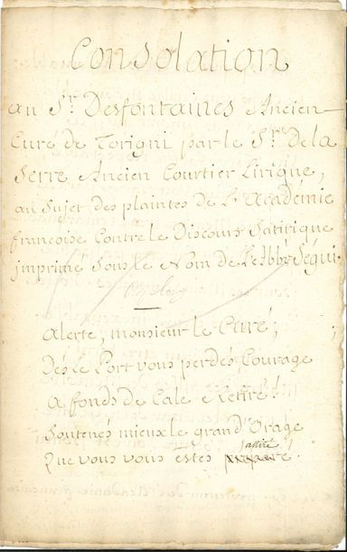 Louis FUZELIER (1672-1752) poète, chansonnier,...