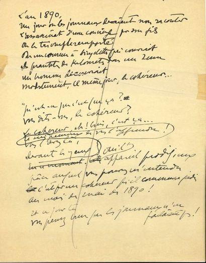 Sacha GUITRY. Manuscrit autographe, «L'an...
