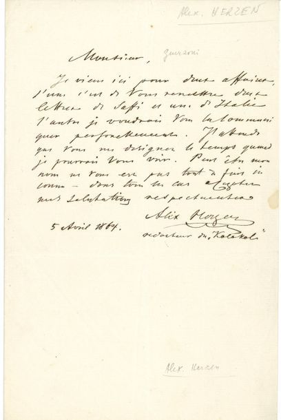 Alexandre HERZEN (1812-1870). L.A.S., 5 avril...