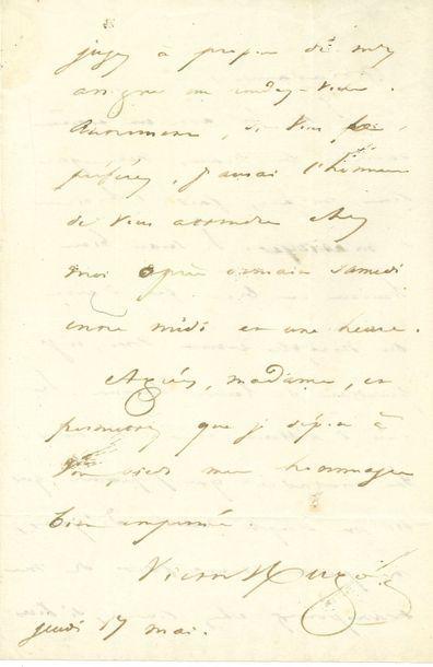 Victor HUGO (1802-1885). L.A.S., 17 mai [1832],...