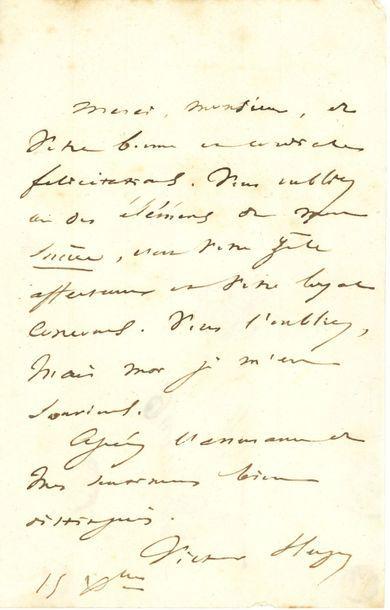 Victor HUGO. L.A.S., 15 décembre [1837],...