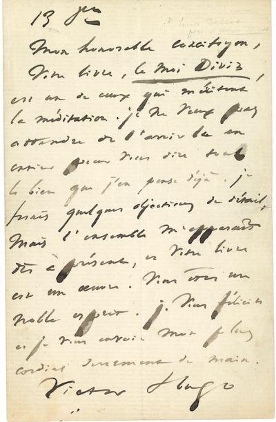 Victor HUGO. L.A.S., 13 octobre [1864, à...