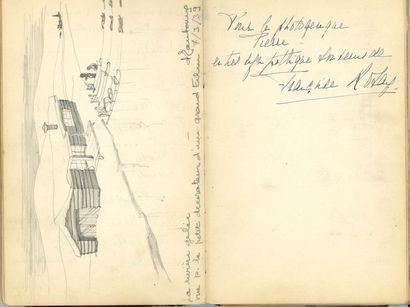ALBUM D'AUTOGRAPHES. Environ 90 P.A.S., signatures et dessins, 1938-1948, à Pierre...