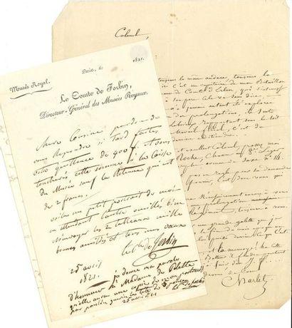 BEAUX-ARTS. 6 L.A.S. ou P.A.S Ernest Beulé, Nicolas-Toussaint Charlet, Auguste comte...