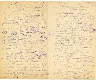Émile-Antoine BOURDELLE (1861-1929). L.A.S., Paris 4 novembre 1902, à Paul et Victor...