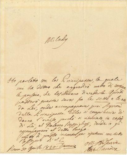 Antonio CANOVA (1757-1822). L.A.S., Rome...